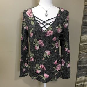 Almost Famous Floral Long Sleeve Cage Shirt